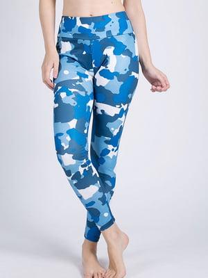 Леггинсы в синий камуфляжный принт | 4910183