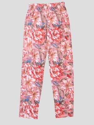 Легінси бежево-рожеві в квітковий принт | 4909328