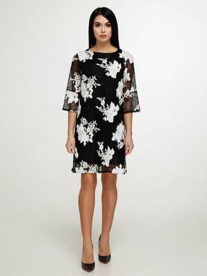 Платье черное в цветочный принт | 4911425