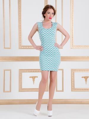 Платье бирюзовое в принт   4910727