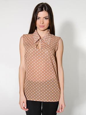 Блуза бежева в горошок | 4911255