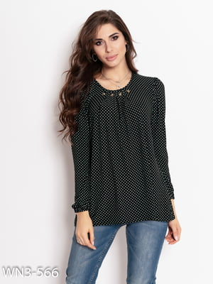 Блуза чорна в горошок | 4903816