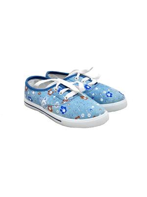 Кеды голубые с цветочным принтом | 4908757