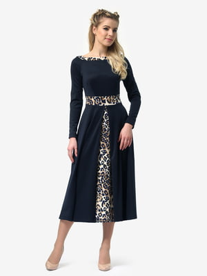 Сукня темно-синя з леопардовими вставками | 4913308