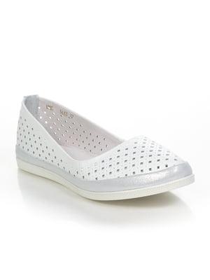 Балетки біло-сріблясті | 4892021