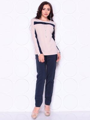 Блуза бежево-синего цвета | 4914279