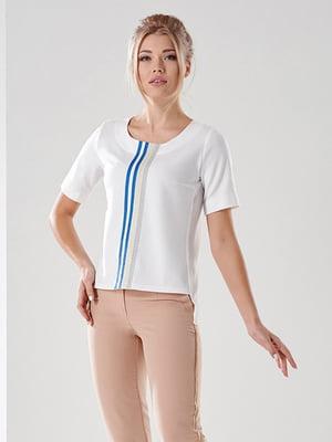 Блуза белая с полосками   4100552
