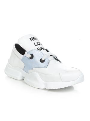Кроссовки бело-голубые с надписью | 4902499