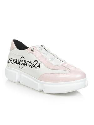 Кроссовки бело-розовые с надписью | 4910958