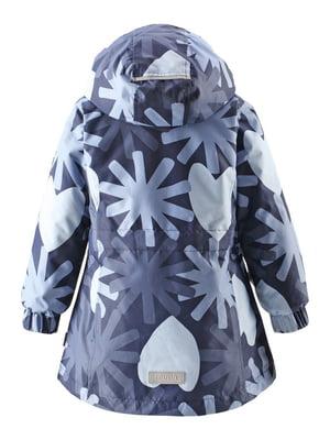 Куртка темно-синяя в принт | 4856322