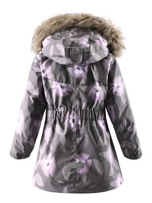 Куртка серая в принт | 4856425