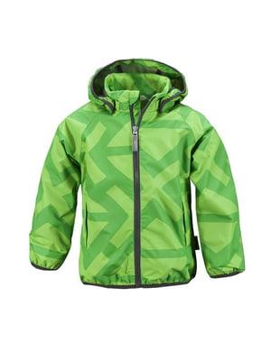 Вітрівка зелена в принт | 4856443