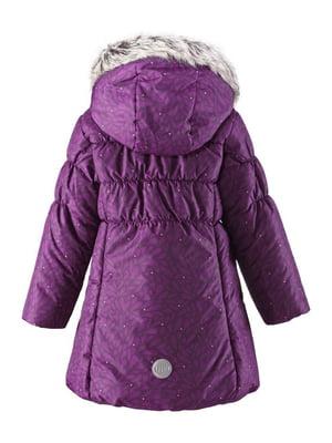 Куртка фіолетова в принт | 4856458