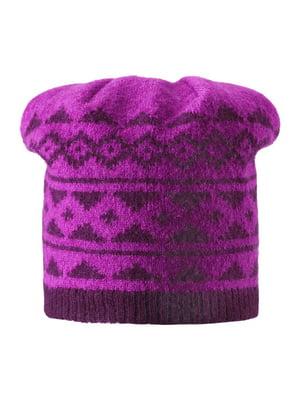 Шапка фиолетовая с орнаментом | 4856495