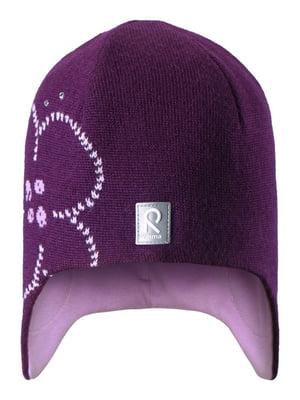 Шапка фиолетовая с рисунком | 4856503