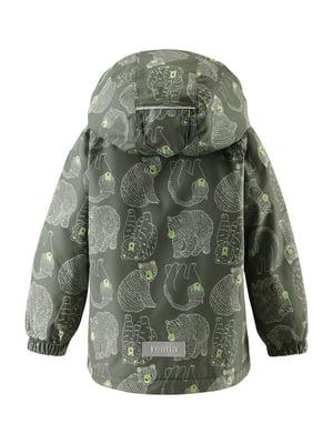 Куртка темно-зеленая в принт | 4856623