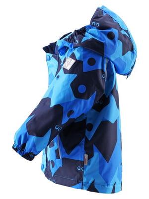 Куртка синяя в принт | 4856677