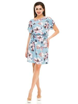 Сукня блакитна в квітковий принт | 4917431