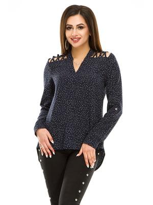 Блуза синяя в горошек | 4917436