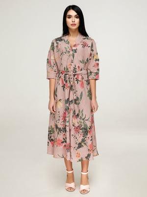 Платье розовое в цветочный принт | 4917527