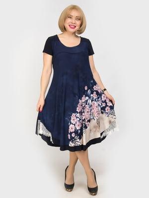 Сукня синя з квітковим принтом | 4917818