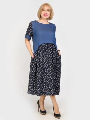 Сукня синя з квітковим принтом | 4917836