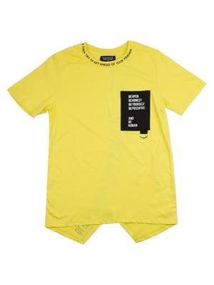 Футболка желтая с надписями | 4917937