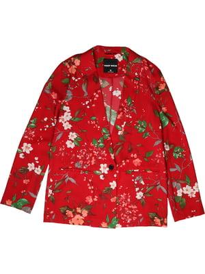 Жакет червоний в квітковий принт | 4916215