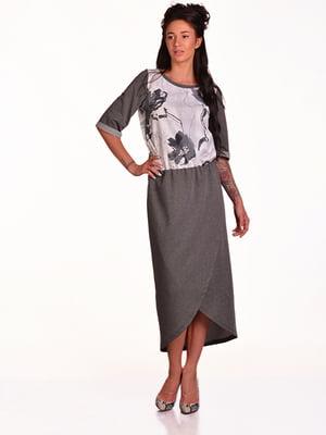 Платье серое с принтом | 4920208