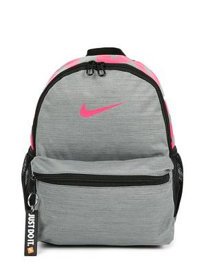 Рюкзак серый с принтом | 4921594
