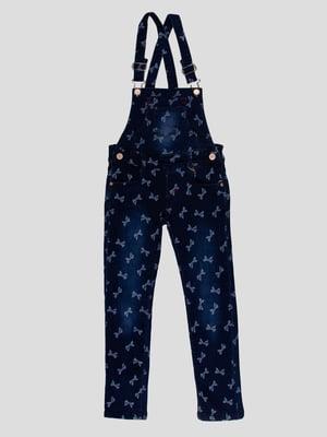 Комбінезон темно-синій в принт джинсовий   4918999