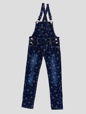 Комбінезон темно-синій в принт джинсовий | 4918998