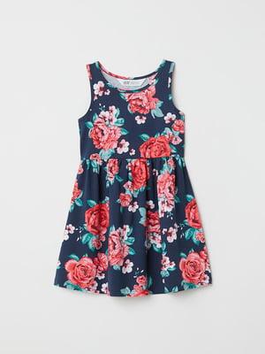 Платье синее с цветочным принтом | 4923033