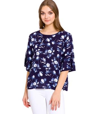 Блуза синя в квітковий принт | 4929698