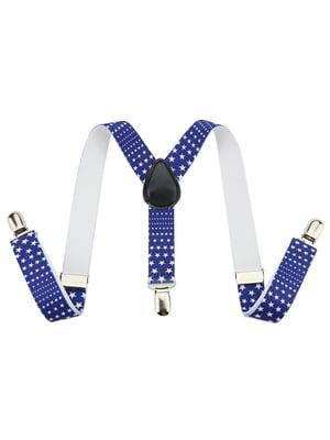 Підтяжки сині з принтом | 4935191