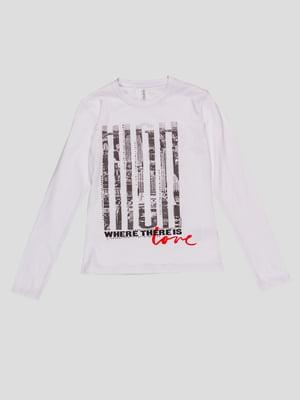 Лонгслив белый с принтом - To be too - 4781614