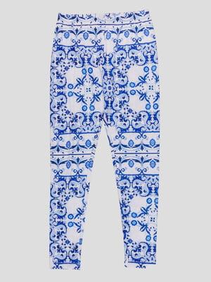Легінси блакитні в принт | 4781529