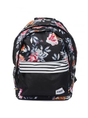 Рюкзак черный в цветочный принт | 4770443