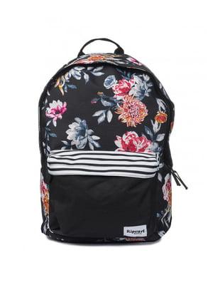 Рюкзак черный в цветочный принт | 4770444