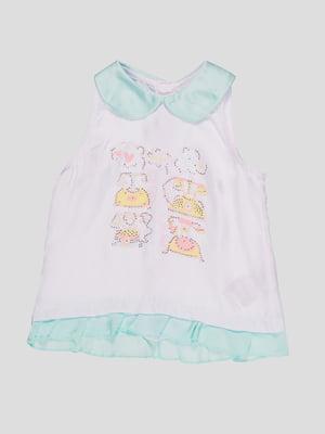Блуза двоколірна з принтом   4781397