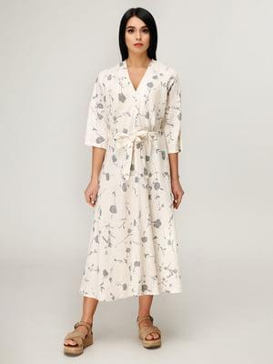 Платье молочного цвета в цветочный принт | 4949900