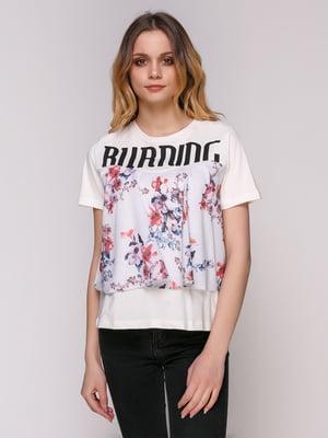 Блуза молочного цвета с принтом | 4906825