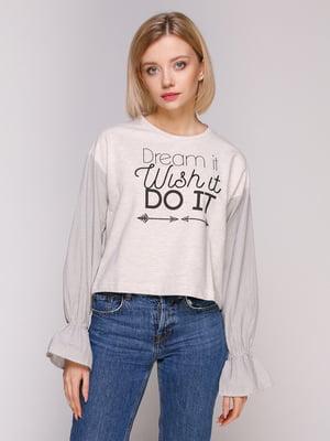 Блуза світло-бежева з принтом | 4906794