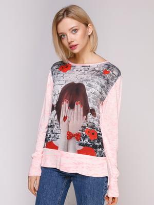 Джемпер сіро-рожевий з принтом | 4906900