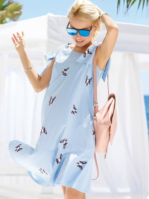 Платье голубое в принт | 4645759