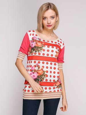 Блуза двоколірна з принтом | 4906904
