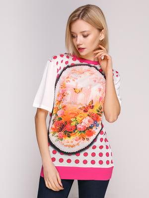 Блуза молочного-рожевого кольору з принтом | 4906903