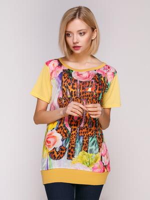 Блуза гірчичного кольору з принтом | 4906902