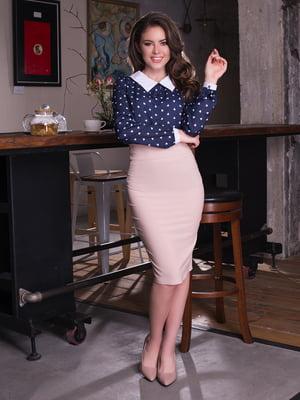 Блуза темно-синя в принт | 2634930