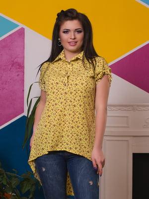 Блуза желтая в цветочный принт | 3315454
